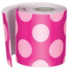 Hot Pink W Polka Dots Str Borders, School Girl Style