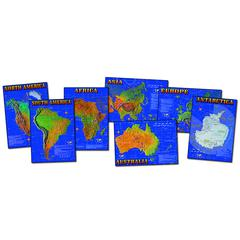 CARSON DELLOSA BB SET SEVEN CONTINENTS OF WORLD 7 PHYSICAL MAPS 17 X 24