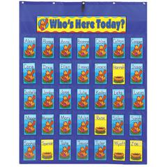 POCKET CHART ATTENDANCE/MULTIUSE 30X38 & UP STUDENT CARDS & HEADER