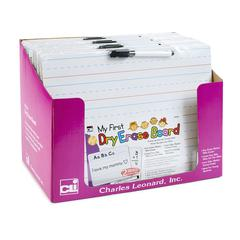CHARLES LEONARD MY FIRST LAPBOARD 9X12 12PK 2 SIDED DRY ERASE BOARDS W/ MARKER ERASER