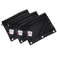 Black 2 Pocket Pencil Pouch 3 Pk