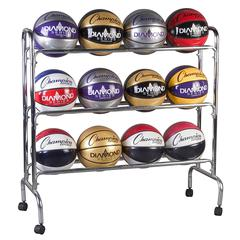 CHAMPION SPORTS PORTABLE BALL RACK 3 TIER HOLDS 12 BALLS