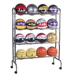 CHAMPION SPORTS PORTABLE BALL RACK 4 TIER HOLDS 16 BALLS