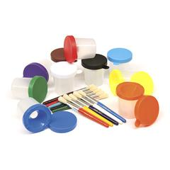 PACON PAINT CUPS & BRUSHES SET 10 CUPS W/ 10 COLOR COORDINATED BRUSHES