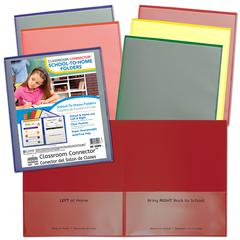 C-Line School-To-Home Folder - 2 Front & Back Pocket(s) - Polypropylene - Red, Orange, Yellow, Blue, Green, Purple - 36 / Box