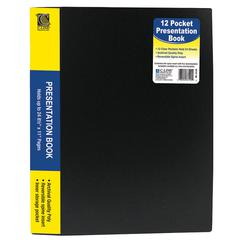 "C-Line Bound Sheet Protector Presentation Book - Letter - 8.50"" Width x 11"" Length Sheet Size - 24 Sheet Capacity - 13 Pockets - Poly - Black - 1 Each"""