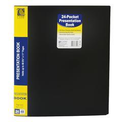 "C-Line 24-Pocket Bound Sheet Protector Presentation Book, Black, 33240 - Letter - 8.50"" Width x 11"" Length Sheet Size - 48 Sheet Capacity - 24 Pockets - Polypropylene - Black - 1 / Each"""