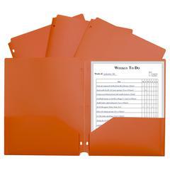 2 Pocket Poly Portfolio Orange, W/ 3 Hole Punch