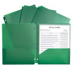 2 Pocket Poly Portfolio Green, W/ 3 Hole Punch