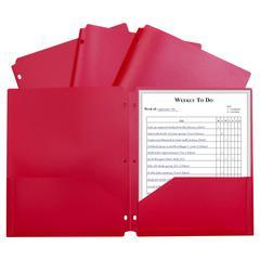 2 Pocket Poly Portfolio Red, W/ 3 Hole Punch