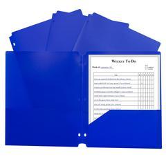 2 Pocket Poly Portfolio Blue, W/ 3 Hole Punch