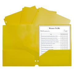 2 Pocket Poly Portfolio Yellow, W/ 3 Hole Punch