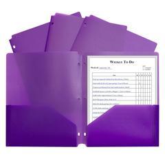 2 Pocket Poly Portfolio Purple, W/ 3 Hole Punch