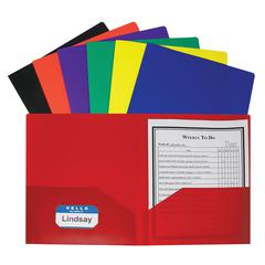 TWO POCKET POLY PORTFOLIOS 36/BOX ASSORTED WITHOUT PRONGS