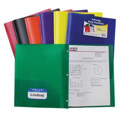 TWO POCKET POLY PORTFOLIOS 36/BOX ASSORTED WITH PRONGS