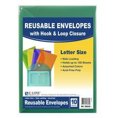 Xl Reusable Envelopes 10 Pk, With Hook & Loop Closure