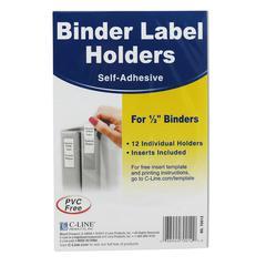 "C-Line Self-Adhesive Binder Label Holder - 0.5"" x 1.6"" - Vinyl - 12 / Pack - Clear"""