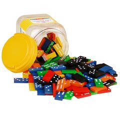 DOUBLE 6 COLOR DOMINOES 6 SETS 168 PCS IN STORAGE BUCKET