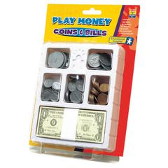 LEARNING RESOURCES LETS PRETEND PLAY MONEY COINS & BILLS TRAY