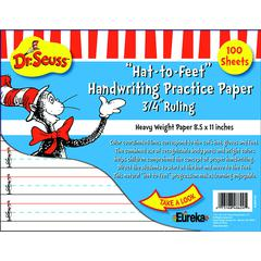 EUREKA DR SEUSS HAT TO FEET 100SHT HANDWRITING PRACTICE PAPER
