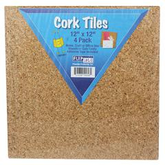 FLIPSIDE CORK TILES 12IN X 12IN SET OF 4