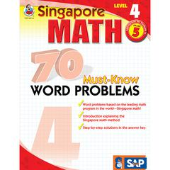 CARSON DELLOSA SINGAPORE MATH LEVEL 4 GR 5 70 MUST KNOW WORD PROBLEMS