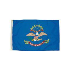 FLAGZONE 3X5 NYLON NORTH DAKOTA FLAG HEADING AND GROMMETS