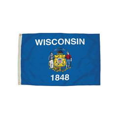 FLAGZONE 3X5 NYLON WISCONSIN FLAG HEADING & GROMMETS