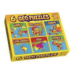 GEOTOYS GEOPUZZLE SET OF 6 GEOPUZZLES PLUS 6 MINI POSTERS