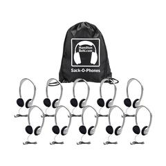SACK O PHONES 10 HA2 PERSONAL HEAD SETS FOAM EAR CUSHIONS IN BAG