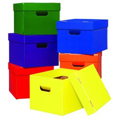 DEMCO TOTE/STOW BOXES ONE EACH OF GREEN BLUE ORANGE PURPLE RED AND YELLOW