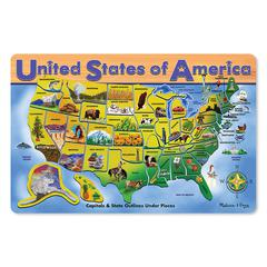 MELISSA & DOUG USA MAP WOODEN PUZZLE 16X12 45 PCS
