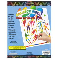MELISSA & DOUG RAINBOW WHITE SCRATCH-ART 50 SHT PAPER 8 1/2X11
