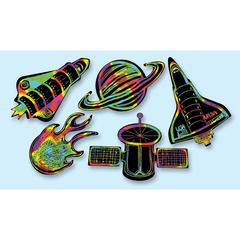 SCRATCH ART SCRATCHIN OUTER SPACE SHAPES GROUP PACK 5 SHAPES 25/PKG