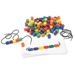 LEARNING RESOURCES BEADS & PATTERN CARDS 108 BEADS 20 CARDS 2 LACES