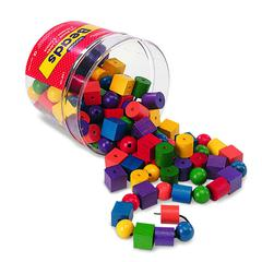 LEARNING RESOURCES BEADS IN A BUCKET 108 BEADS 2 36- LACES