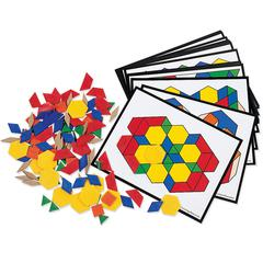 LEARNING RESOURCES PATTERN BLOCK ACTIVITY PK 124 BLOCKS 16 CARDS