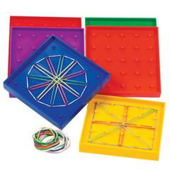 LEARNING RESOURCES GEOBOARD DOUBLE-SIDED RAINBOW 6-PK 5 X 5 PLASTIC 5 6 COLORS