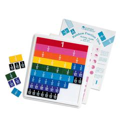 LEARNING RESOURCES RAINBOW FRACTION TILES W/ 51 PCS W/ 9 X 10 PLASTIC TRAY
