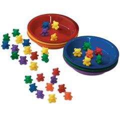 LEARNING RESOURCES BABY BEAR SORTING SET 102 BEARS 6 COLORS 6 BOWLS
