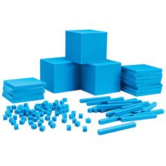 LEARNING RESOURCES PLASTC BASE TEN CLASS SET 600 UNITS 200 RODS 20 FLATS 3 CUBES
