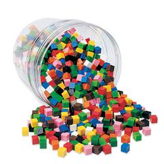 LEARNING RESOURCES CENTIMETER CUBES 1000-PK 10 COLORS IN STORAGE TUB