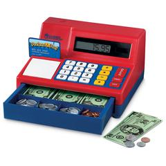 LEARNING RESOURCES CALCULATOR CASH REGISTER W/ US CURRENCY
