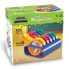 LEARNING RESOURCES PRIMARY SCIENCE JUMBO MAGNIFIERS SET OF 6 IN A STAND