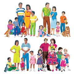 LITTLE FOLKS VISUALS MULTICULTURAL FAMILIES 4-SET FLANNELBOARD SET PRE-CUT