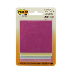 "Post-it Notes, 3 in x 3 in, Marseille Color Collection - 200 - 3"" x 3"" - Square - 50 Sheets per Pad - Unruled - Assorted - Paper - Self-adhesive - 4 / Pack"
