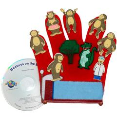 GET READY KIDS FINGER PLAY FUN GLOVE PUPPETS MONKEYS ON THE BED