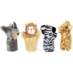 ZOO PUPPET SET I INCLUDES RHINO ZEBRA GIRAFFE & LION