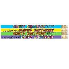 12 PK HAPPY BIRTHDAY WISHES PENCIL
