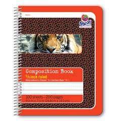 """Pacon Composition Book - 100 Sheets - 200 Pages - Spiral Bound - Short Way Ruled - 0.63"""" Ruled - 4.50"""" Picture Story Space - 7 1/2"""" x 9 3/4"""" - Red Cover - Recycled - 100 / Each"""